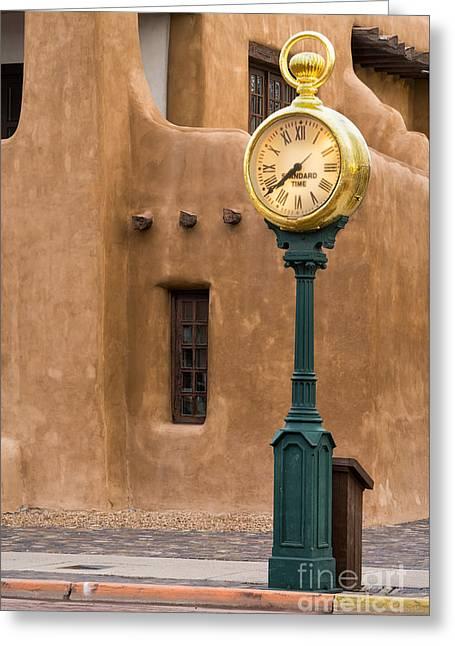 Santa Fe Clock Greeting Card by Jerry Fornarotto