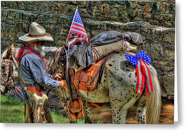 Equus Ferus Caballus Greeting Cards - Santa Fe Cowboy Greeting Card by David Patterson
