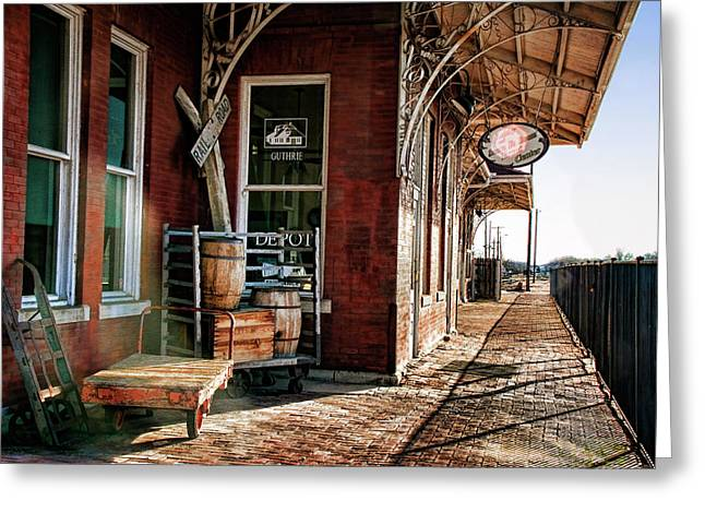 Train Depot Greeting Cards - Santa Fe Depot of Guthrie Greeting Card by Lana Trussell