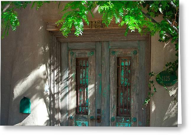 Santa Fe Door Greeting Card by David Patterson