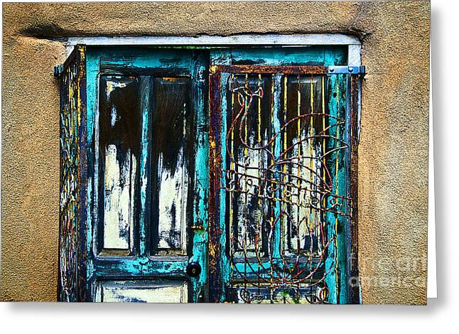 Adobe Greeting Cards - Santa Fe Doors Greeting Card by Ray Laskowitz - Printscapes