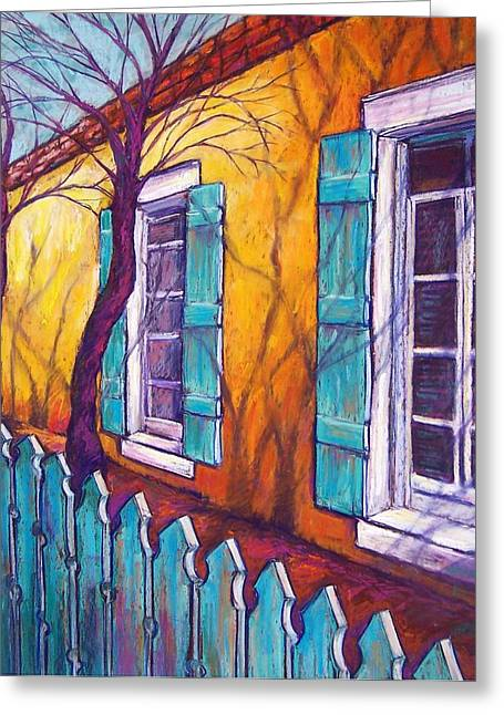 Southwest Pastels Greeting Cards - Santa Fe Shutters Greeting Card by Candy Mayer