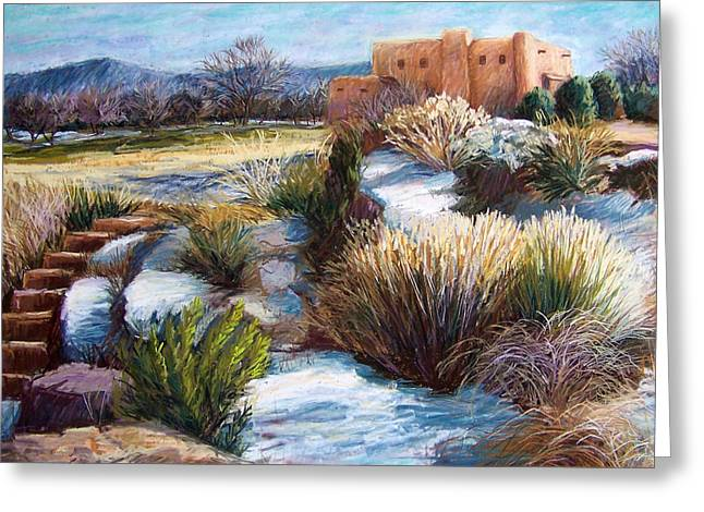 Snow Scene Landscape Pastels Greeting Cards - Santa Fe Spring Greeting Card by Candy Mayer
