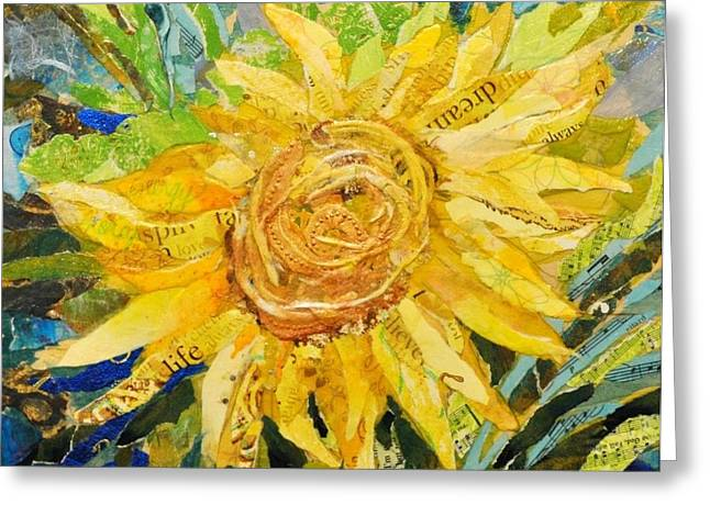 Recently Sold -  - Yellow Sunflower Greeting Cards - Santa Fe Sunshine Greeting Card by Jane Rochelle