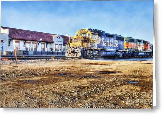 Tamyra Ayles Greeting Cards - Santa Fe Train in Ardmore Greeting Card by Tamyra Ayles