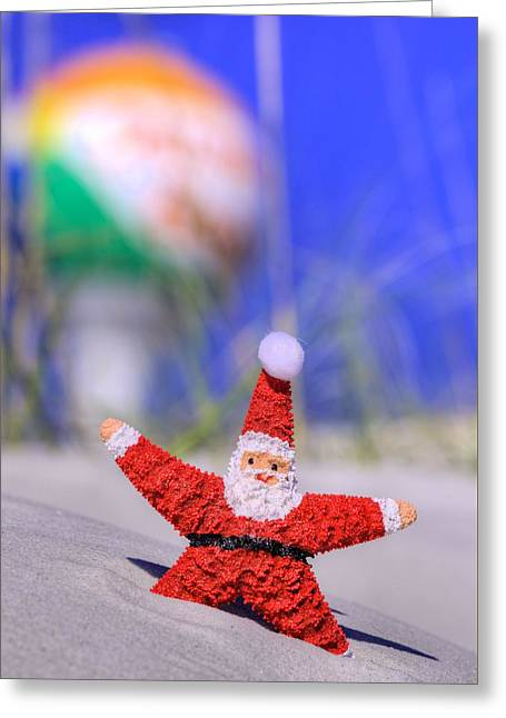 Santa In Pensacola Beach Florida Greeting Card by JC Findley