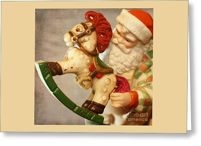 Santa Claus Is Coming To Town Greeting Card by Claudia Ellis