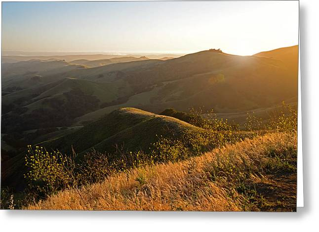 Cambria Greeting Cards - Santa Lucia Highlands Sunset Greeting Card by Kathy Yates