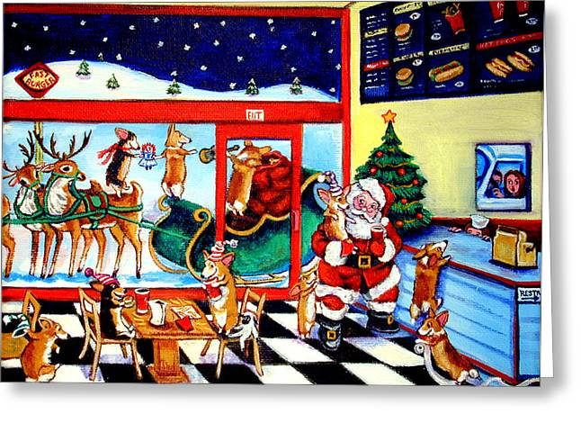 Rudolph Paintings Greeting Cards - Santa makes a pit stop Greeting Card by Lyn Cook