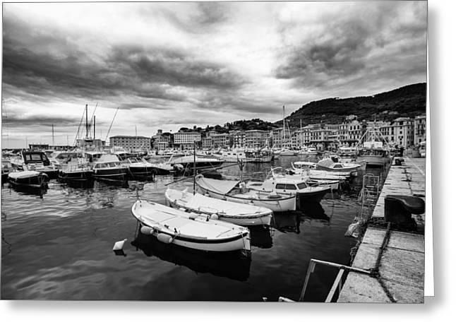 Margherita Greeting Cards - Santa Margherita Ligure Harbor Scene Greeting Card by Aurelian
