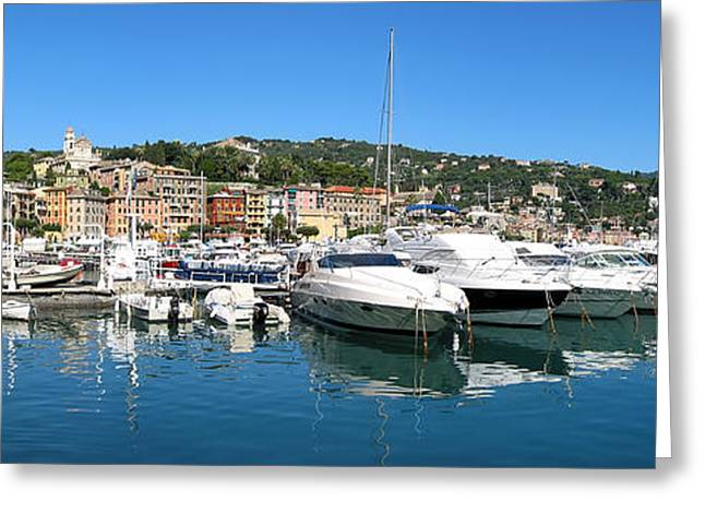 Italian Mediterranean Art Greeting Cards - Santa Margherita Ligure Panoramic Greeting Card by Adam Romanowicz