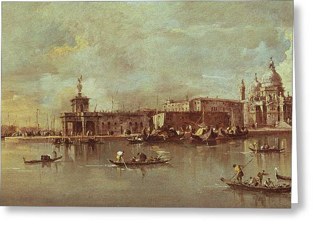 Santa Maria Della Salute Seen From The Mouth Of The Grand Canal Greeting Card by Francesco Guardi