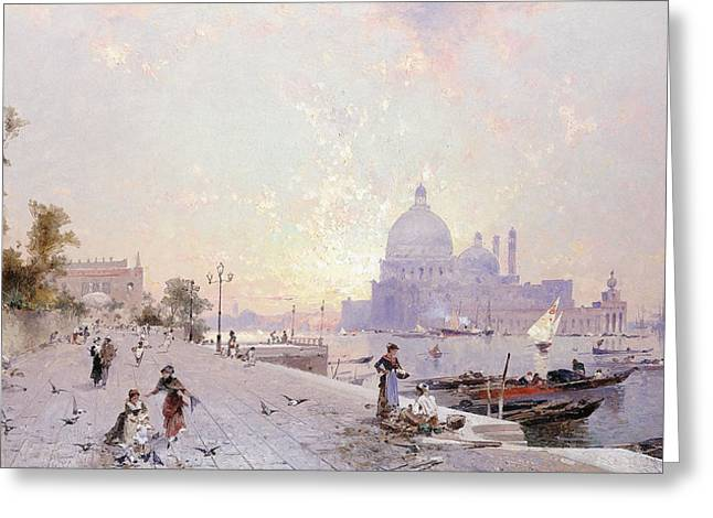 Besides Greeting Cards - Santa Maria della Salute Venice Greeting Card by Franz Richard Unterberger