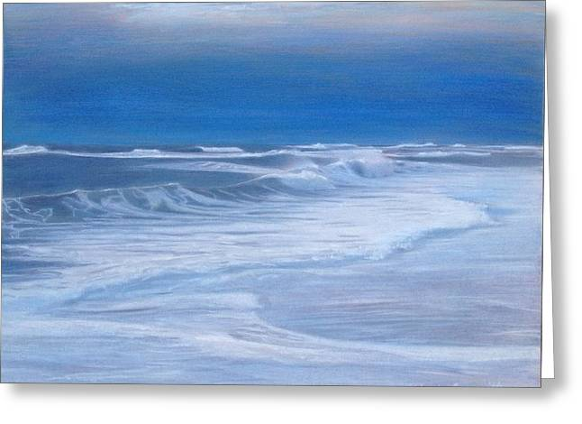 Foggy Ocean Paintings Greeting Cards - Santa Maria Rivermouth Greeting Card by Mark  Leavitt