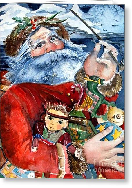 Twinkle Greeting Cards - Santa Greeting Card by Mindy Newman
