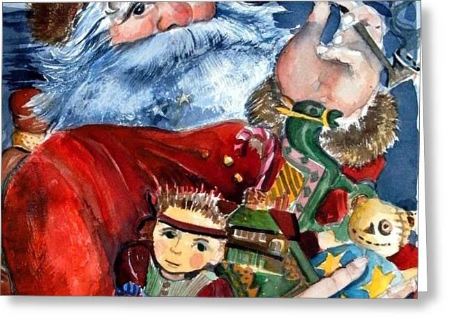 Santa Greeting Card by Mindy Newman