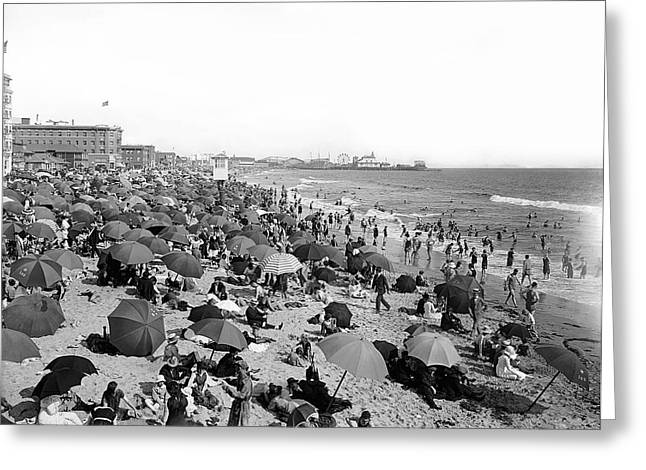 Swimmers Greeting Cards - SANTA MONICA BEACH and PIER c. 1910 Greeting Card by Daniel Hagerman