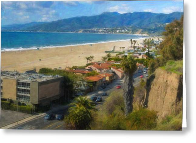 Pch Greeting Cards - Santa Monica CA Steps Palisades Park Bluffs  Greeting Card by David  Zanzinger