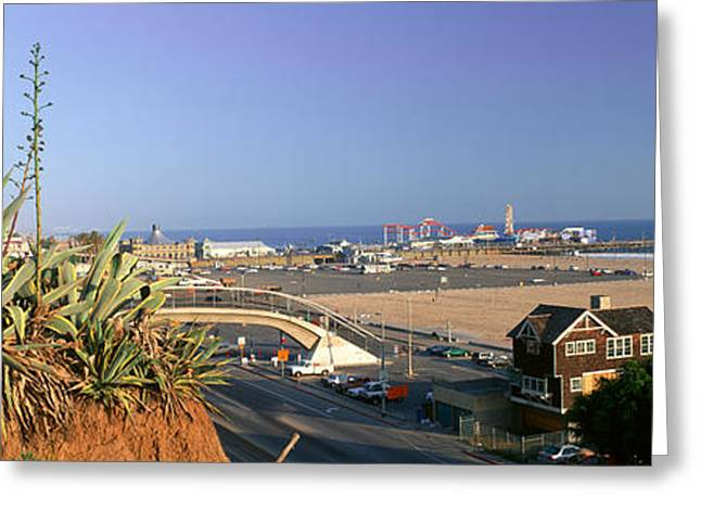 Santa Monica, Overlooking The Beach Greeting Card by Panoramic Images