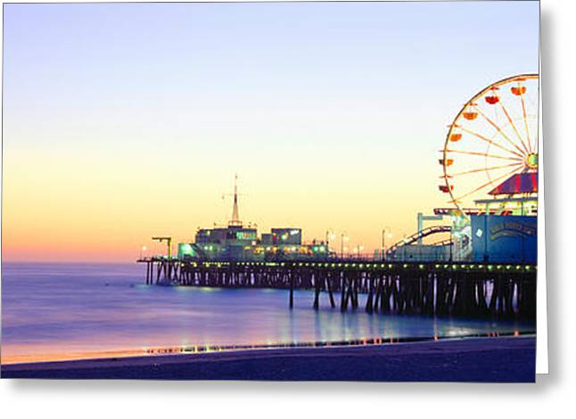Amusement Ride Greeting Cards - Santa Monica Pier At Sunset, California Greeting Card by Panoramic Images