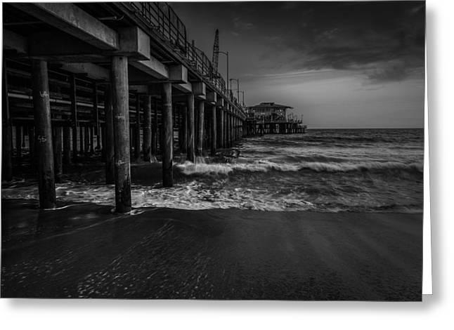 Santa Monica Pyrography Greeting Cards - Santa Monica Pier BW Greeting Card by Rick Strobaugh