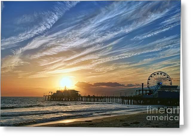 Santa Monica Pier Greeting Card by Eddie Yerkish