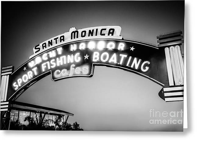 Santa Monica Pier Sign Black And White Photo Greeting Card by Paul Velgos
