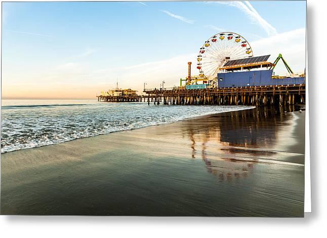 Recently Sold -  - California Art Greeting Cards - Santa Monica Pier Sunrise Greeting Card by Josh Whalen