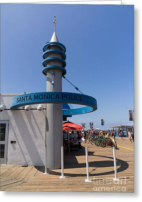 Police Department Greeting Cards - Santa Monica Police at Santa Monica Pier in Santa Monica California DSC3675 Greeting Card by Wingsdomain Art and Photography
