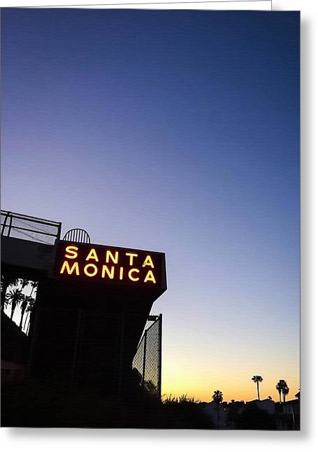 Santa Monica Sunrise Greeting Card by Art Block Collections