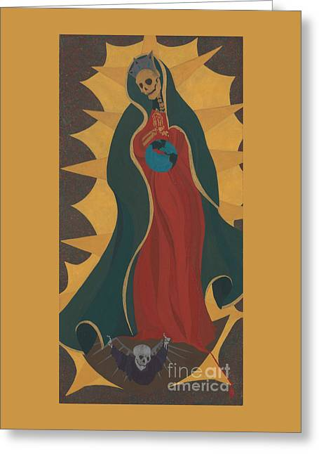 Santa Muerta Greeting Card by Kenn Ashe