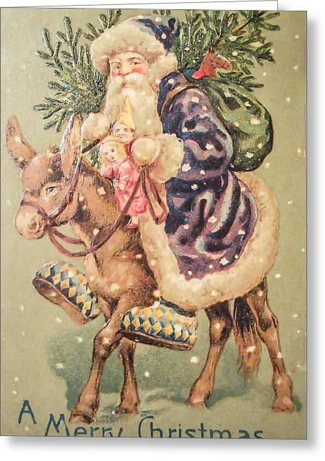 Purple Robe Greeting Cards - Santa on Donkey Greeting Card by Black Brook Photography