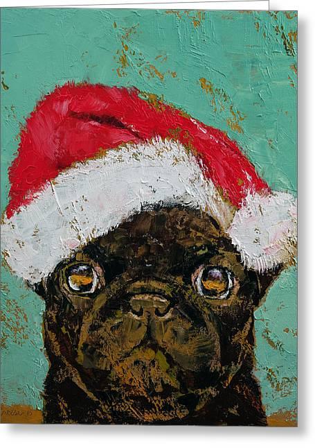Santa Pug Greeting Card by Michael Creese