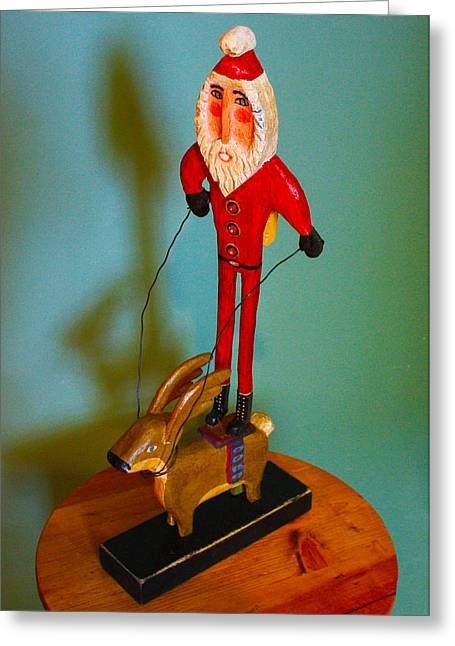 Rudolph Sculptures Greeting Cards - Santa Riding Reindeer Greeting Card by James Neill