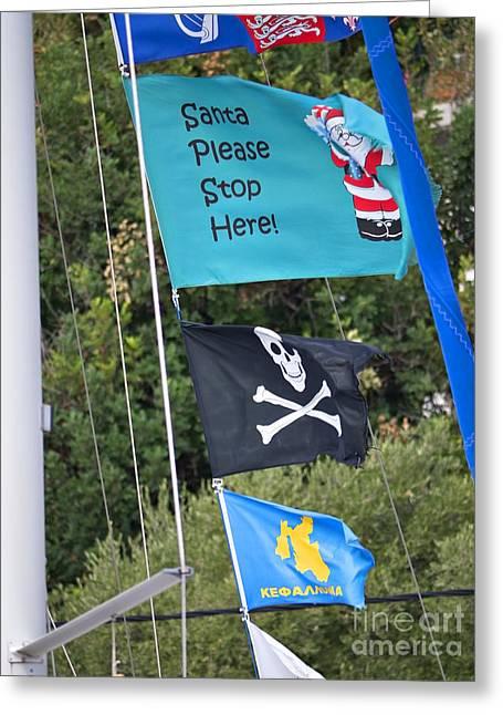 Pirates Greeting Cards - Santa Stop Greeting Card by Gillian Singleton