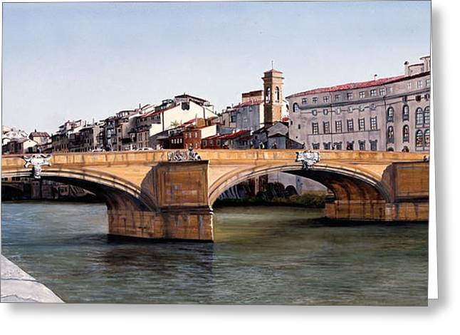 Santa Trinita Bridge Greeting Card by Matthew Bates