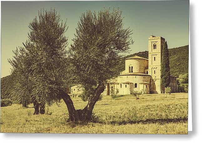 Sant'antimo Abbey In Tuscany Greeting Card by Roberto Pastrovicchio