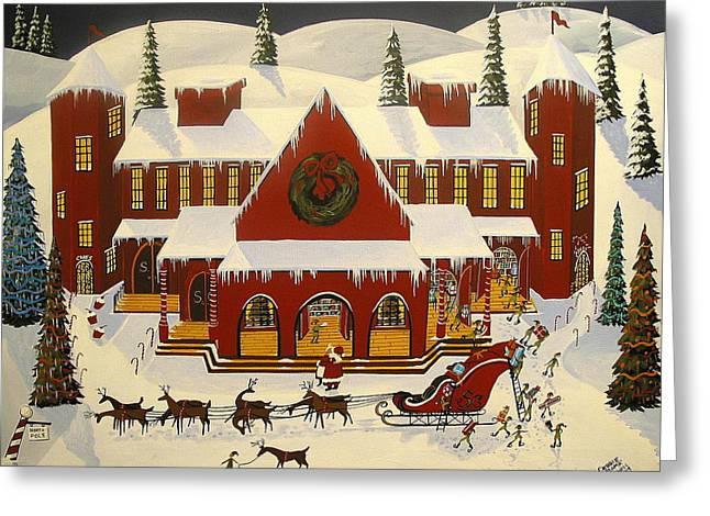 Christmas Art Greeting Cards - Santas Big Night Greeting Card by Debbie Criswell