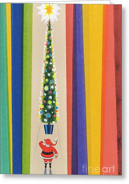 Decorate Greeting Cards - Santas Christmas Tree Greeting Card by Stanley Cooke
