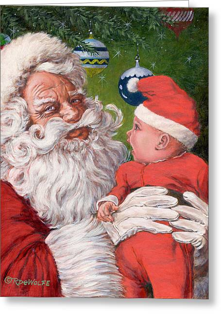 Santas Little Helper Greeting Card by Richard De Wolfe