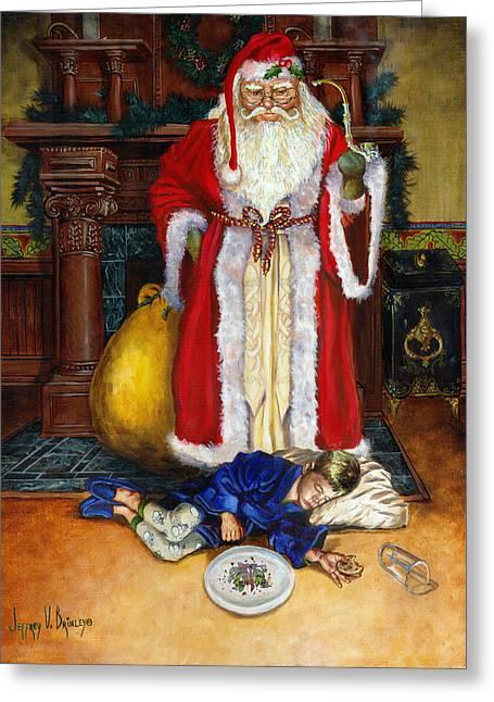 Old World Greeting Cards - Santas Littlest Helper Greeting Card by Jeff Brimley
