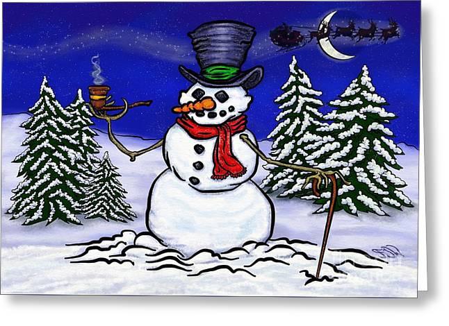 Snowscape Pastels Greeting Cards - Santas On His Way Greeting Card by Frank Warsinski