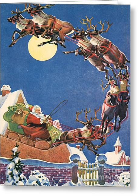 Santa's Sleigh And Reindeer Flying In The Night Sky On Christmas Eve Greeting Card by American School
