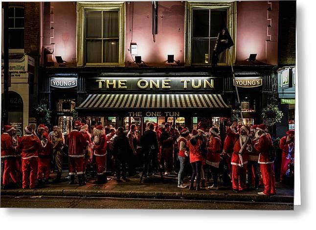 Santa Photographs Greeting Cards - Santas Teambuilding Greeting Card by Walde Jansky