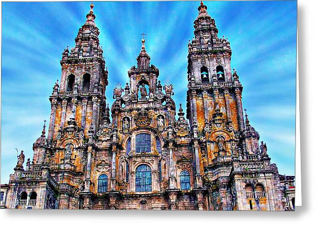Medieval Temple Greeting Cards - Santiago de Compostela Cathedral Greeting Card by Anthony Dezenzio