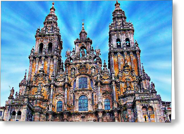 Medieval Temple Digital Greeting Cards - Santiago de Compostela Cathedral Greeting Card by Anthony Dezenzio