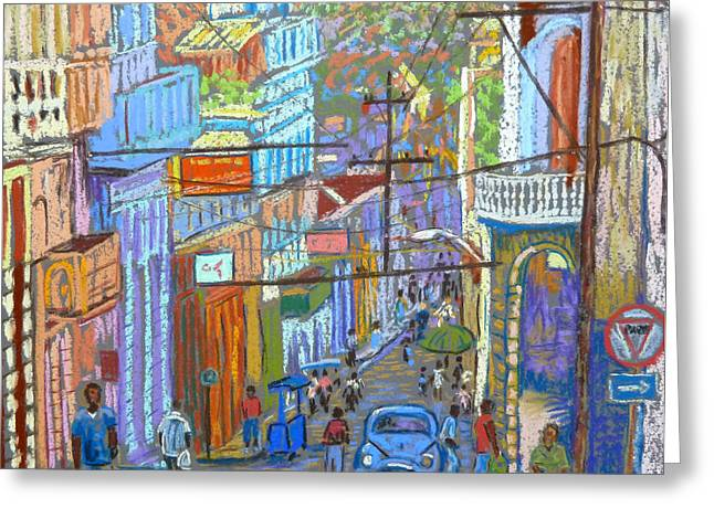 Downtown Pastels Greeting Cards - Santiago de Cuba Greeting Card by Rae  Smith PSC