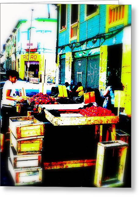 Santiago Fruit Stalls Greeting Card by Funkpix Photo Hunter