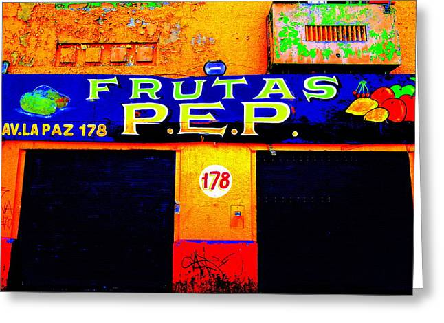Santiago Funky Fruit Shop Greeting Card by Funkpix Photo Hunter