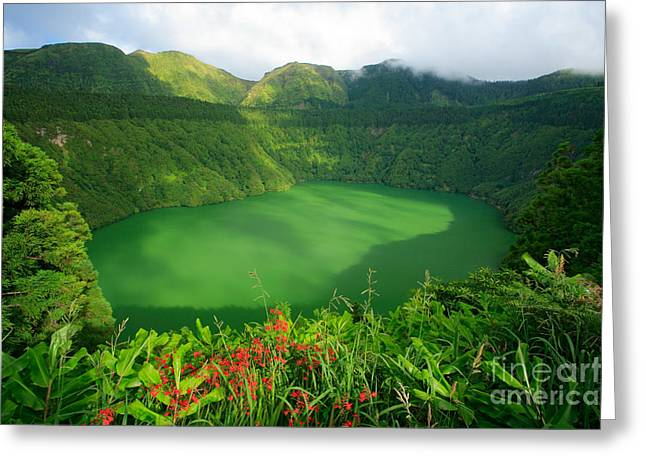 Azores Greeting Cards - Santiago Lake Greeting Card by Gaspar Avila